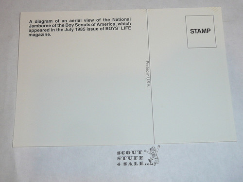 1985 National Jamboree Post Card, Diagram of an ariel view of site