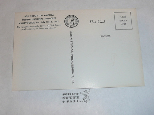 1957 National Jamboree Post Card, Official Post card, Pioneer Houses