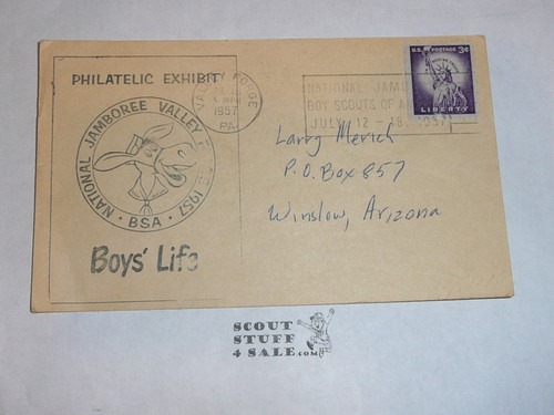 1957 National Jamboree Post Card with USPS Jamboree Cancellation