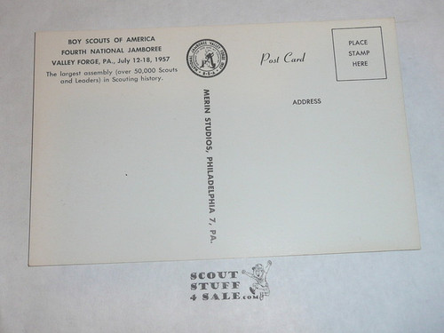 1957 National Jamboree Post Card, Official Post card, Valley Forge Arch