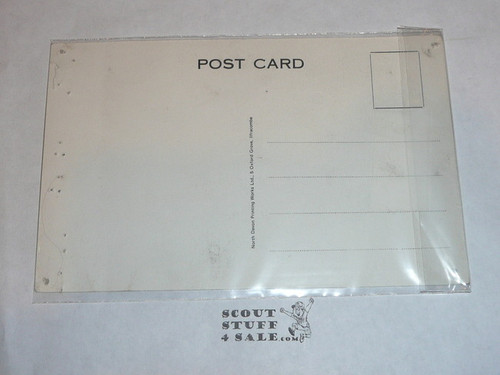 1957 World Jamboree Post Card, #11 of 12 Post card set drawn by Sid Wright, pin holes around the edge from tacking to a bulletin board