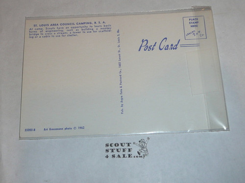 St. Louis Scout Camps Pioneering Project Post card, 1962