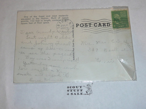 Piedmont Boy Scout Camp Dining Lodge and Kitchen Post card, 1950