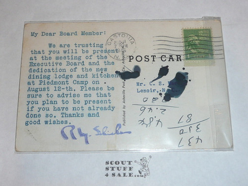 Piedmont Boy Scout Camp Dining Hall and Kitchen Post card, 1945