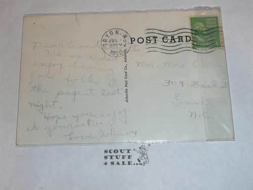 Piedmont Boy Scout Camp Assembly Lodge Post card, 1950