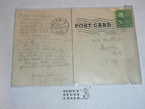 Piedmont Boy Scout Camp Flag Ceremony Post card, 1950