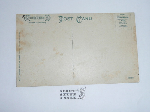 1914 Postcard Waterfall and Rustic Bridge on Seton Estate