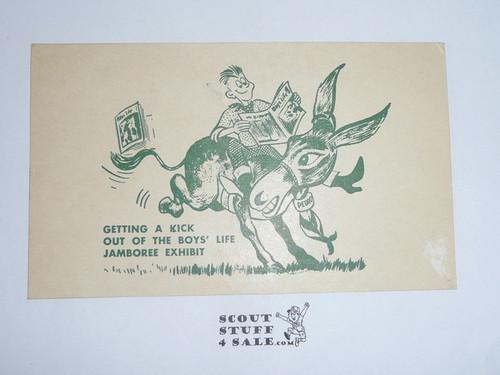 1957 National Jamboree Boys' Life Exhibit Postcard, With Jamboree Cancellation