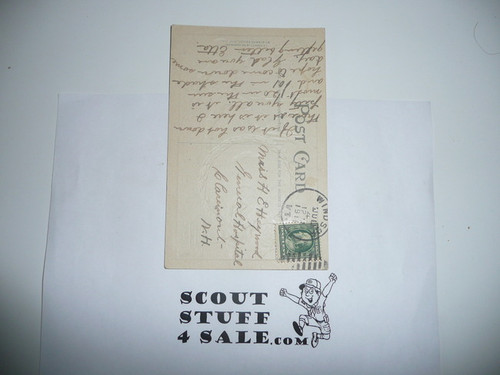 1910 July 4th Postcard With Boy Scout and President Taft