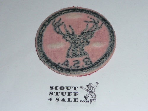 Stag Patrol Medallion, Red Twill with gum back, 1955-1971