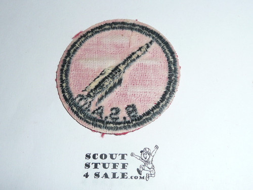 Rocket Patrol Medallion, Red Twill with gum back, 1955-1971