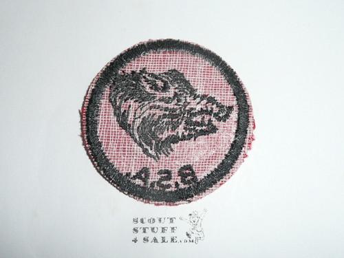 Wild Boar Patrol Medallion, Felt w/BSA & Solid Black Ring back, 1933-1939