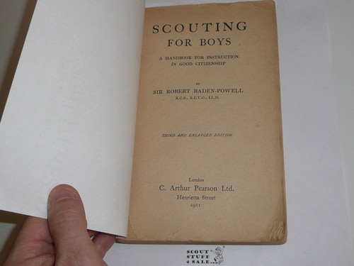 1911 Scouting for Boys, By Leuit.-Gen Sir Robert Baden-Powell, Third Edition, Third Printing, Cover missing