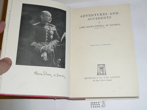 1936 Adventures and Accidents, By Lord Baden-Powell, Second Printing, with dust jacket