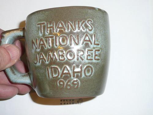 1969 National Jamboree Frankoma Ceramic Coffee Mug, Blue/Green