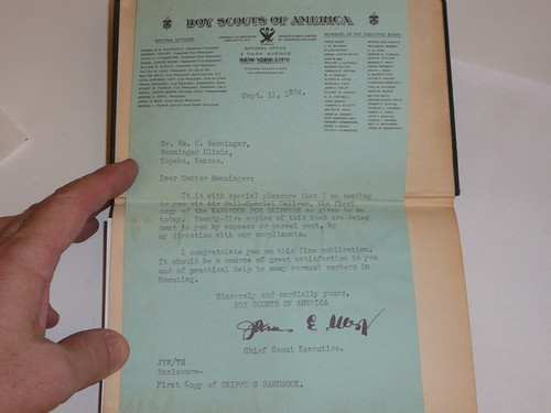 1934 Handbook for Skippers, Sea Scout, First Edition, Personally presented by James West to William Menninger (Author) with letter and personal inscription, the first copy of the book distributed