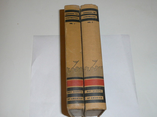 1943 Handbook For Scoutmasters, Third Edition, RARE Matched Pair, Vol 1 is Nineth printing (2-43) & Vol 2 is Eighth printing (10-43), Both in very good Condition