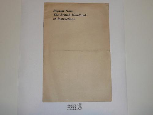1920 World Jamboree BSA Pamphlet Reprinting Instructions from the British Handbook for the Jamboree