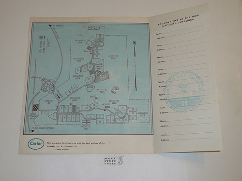 1960 National Jamboree Map With Places to Write Who You Met at the Jamboree