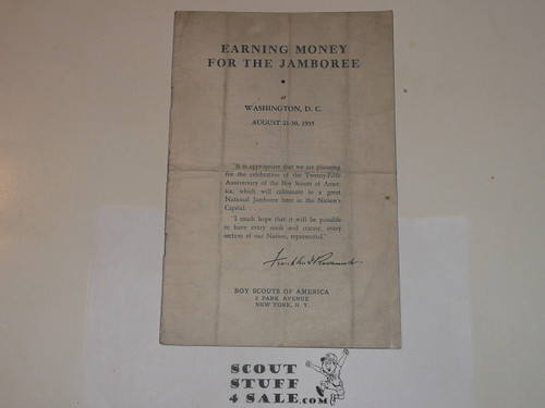1935 National Jamboree Earning Money for the Jamboree Pamphlet