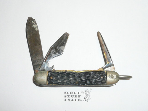 Cub Scout Knife, Imperial, Used, Logo Still Visible on Main Blade, Main Blade Damaged