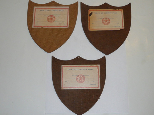 1940's Wolf, Bear, Lion Shield Shaped Award Placques