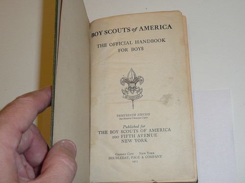 1915 Boy Scout Handbook, Second Edition, Thirteenth Printing, Hardbound
