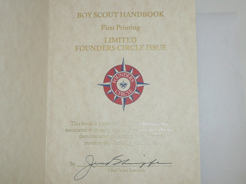 1911 Boy Scout Handbook REPRINT, 1996 printing, FOUNDERS CIRCLE Presentation, Leatherbound, Signed by CSE Jere Ratcliffe, MINT condition