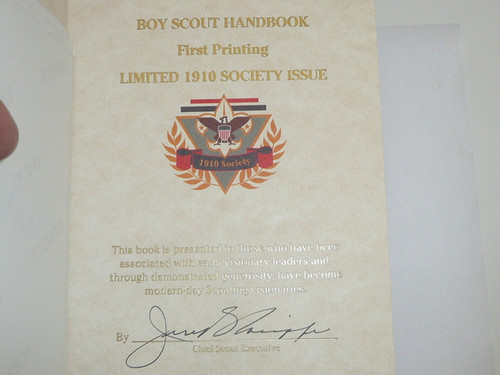 1911 Boy Scout Handbook REPRINT, 1996 printing, 1910 SOCIETY Presentation, Leatherbound, Signed by CSE Jere Ratcliffe, MINT condition