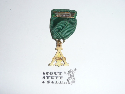 Scouter's Training Award Medal with Green Ribbon (A Design), 1948-1956, gold content