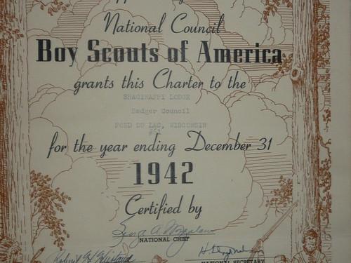 1942 Shaginappi Lodge #61 Order of the Arrow Charter