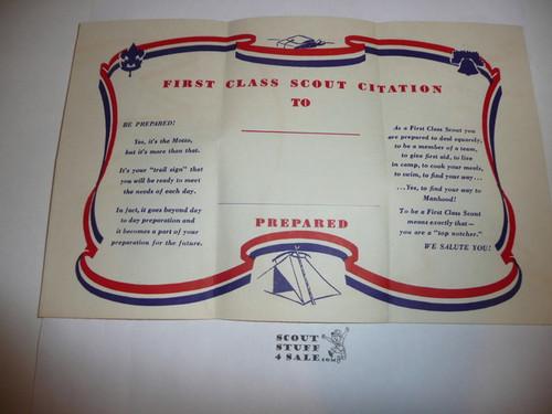 1953 First Class Scout Citation