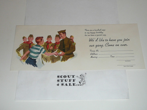 Happy Scout Birthday Card inviting a boy to join Scouting, with envelope