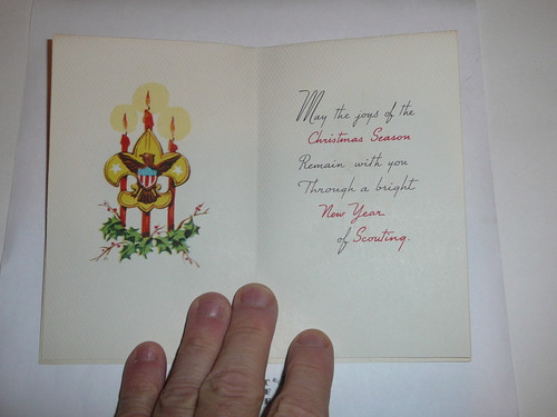 1950's Boy Scout Christmas Card with Christmas Tree on the Front, with Envelope