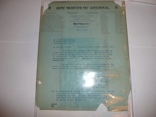 1931 Boy Scout Veteran Certificate with letter from the National Office, Very Scarce