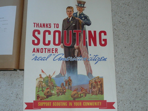 "Poster of Uncle Sam With Scout, ""Thanks to Scouting Another Real American Citizen"", 29""x19"", Partially Affixed to Scrapbook Paper"
