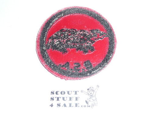 Badger Patrol Medallion, Red Twill with plastic back, 1955-1971