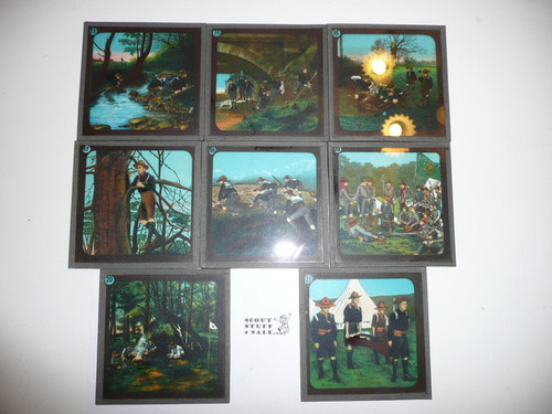 """1900's Set of 24 3"""" Glass Slides Dedicated to the British Boy Scout Movement in Leather Case, Missing Slides 1, 7, 10, 16"""