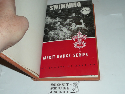 Swimming Library Bound Merit Badge Pamphlet, Type 6, Picture Top Red Bottom Cover, 5-63 Printing