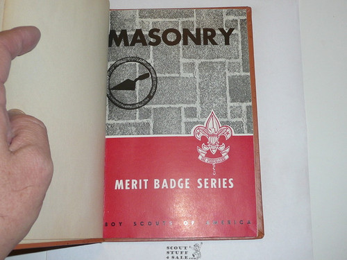 Masonry Library Bound Merit Badge Pamphlet, Type 6, Picture Top Red Bottom Cover, 9-54 Printing