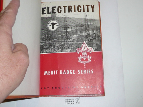 Electricity Library Bound Merit Badge Pamphlet, Type 6, Picture Top Red Bottom Cover, 8-62 Printing