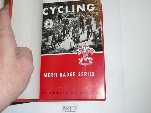 Cycling Library Bound Merit Badge Pamphlet, Type 6, Picture Top Red Bottom Cover, 6-65 Printing