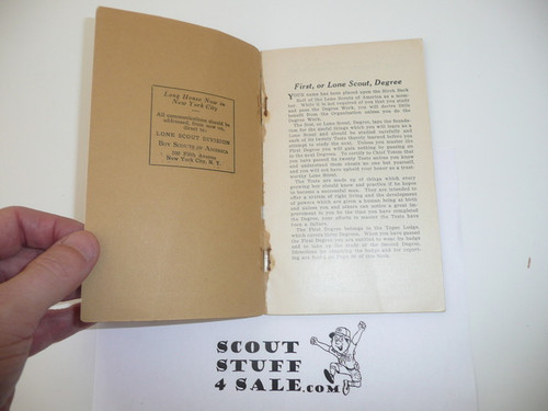 Lone Scout First Degree Book, After BSA Merger