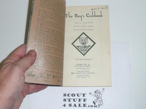1931 Bear Cub Scout Handbook, 1934 Printing