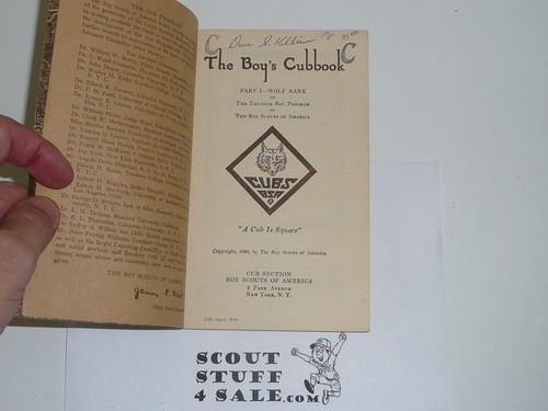 1930 Wolf Cub Scout Handbook, 4-34 Printing