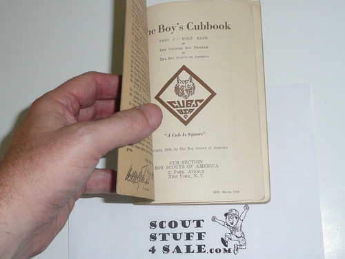 1936 Wolf Cub Scout Handbook, 3-38 Printing