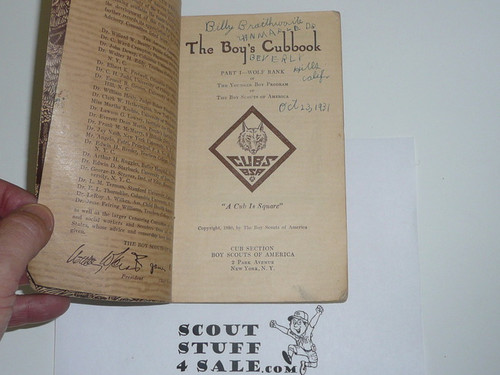 1930 Wolf Cub Scout Handbook, 1st Edition