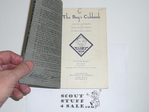 1930 Lion Cub Scout Handbook, 2nd Printing