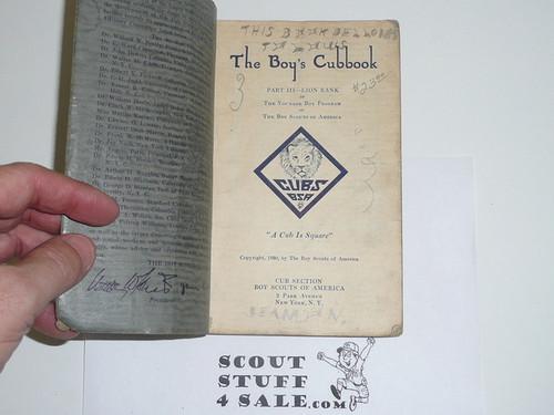 1930 Lion Cub Scout Handbook, 1st Printing, used