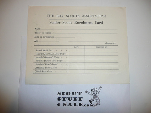 Senior Scout Enrollment Card With Colorful Backside